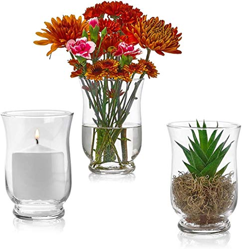 Xicaimen Set of 3 Glass Hurricane Vases 6 Inch Tall x 4 Inch Opening – Multi-use: Pillar Candle Holder Flower Vase – Perfect as a Wedding