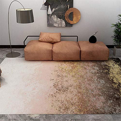 Alfombras alfombras de Pasillo Fácil Crema Limpia, marrón, diseño de Tinta Amarillo, Duradero, se Puede Lavar Decoracion de Salones Alfombra Entrada casa 140X200CM