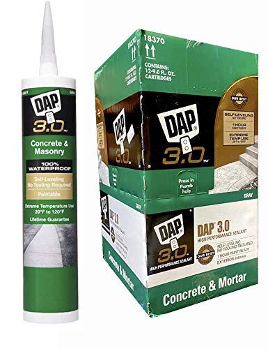 12 Pack Dap 18370 3.0 Advanced Self-Leveling Concrete Sealant - Gray 9-oz Cartridge