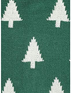 Well Dressed Home Decorative Woven Knit Decorative Holiday Throw Blanket Toss White Christmas Trees on Green - Rustic Pine