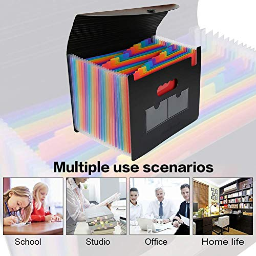 Accordian File Organizer 3 Pack,Expanding Filing Box 24 Pockets with Cover, Expandable Plastic File Folders Accordion Document Organizer A4 Letter Size,Rainbow Desktop Files Folder with 6 Labels Photo #6
