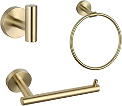 Bathroom Accessories Set 3 Piece Brushed Pvd Zirconium Gold Stainless Steel Bath Hardware Kit Wall Mount Towel Ring Toilet...