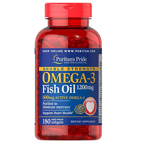 Puritans Pride Double Strength Omega-3 Fish Oil 1200 Mg, 180 Count
