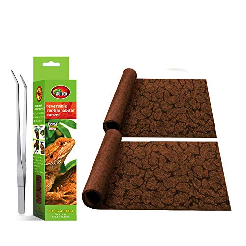 MCLANZOO 2PCS Reptile Carpet 20Gallon,Pet Terrarium Liner,Reptiles Cage Mat/Substratefor Snakes, Chameleons, Geckos ands Kitchen Use with Tweezers Feeding Tongs (Printing Desert,(30 x 12in))
