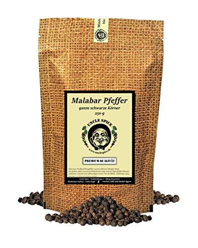 Uncle Spice Malabar Pfeffer - 250g schwarzer Pfeffer ganz - Tigerpfeffer - Hochland Bergpfeffer - Premiumqualität - ganze handverlesene Pfefferbeeren, schwarze Pfefferkörner, für die Mühle