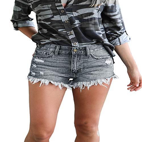 HNOSD Kurze Jeans Fashion High Waist Casual Denim Shorts Frauen 2019 Loch Ripped Sommer Quaste Streetwear Sexy Black Shorts Hotpants Gr. XL, As Picc