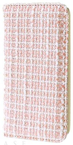 [iPhone6/6s スマホ ケース] 手帳型 カードポケット スタンド機能 付き アイフォン カバー (ツイード/ピンク)