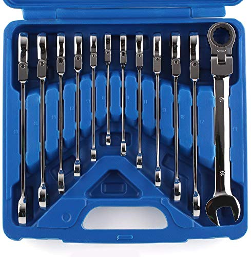 Femor Set di chiavi combinate, Chiave Regolabile a Doppio Scopo 8 -19 mm con Testa Flessibile a Cricchetto, con Cassetta Degli Attrezzi, 12 Pezzi