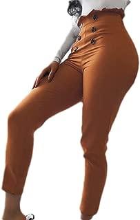 Womens High Waist Button Leggings Casual Plain Straight Leg Pants