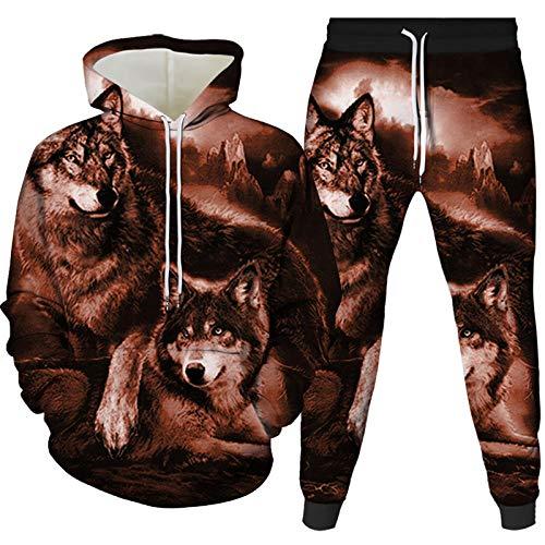 Felpe con Cappuccio,Casual Unisex Teen Animal Wolf Maglione Tuta Sportiva A Due Pezzi Pullover Sciolto Abbigliamento Miscelazione dei Colori 3XL