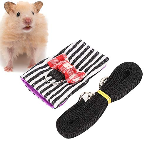 YOUTHINK Kleine Tiere Gurt und Leine Verstellbarer Gurt für Eichhörnchen Meerschweinchen Hamster Frettchen Traktionsseil (Schwarz + Weiß Streifen)(S)