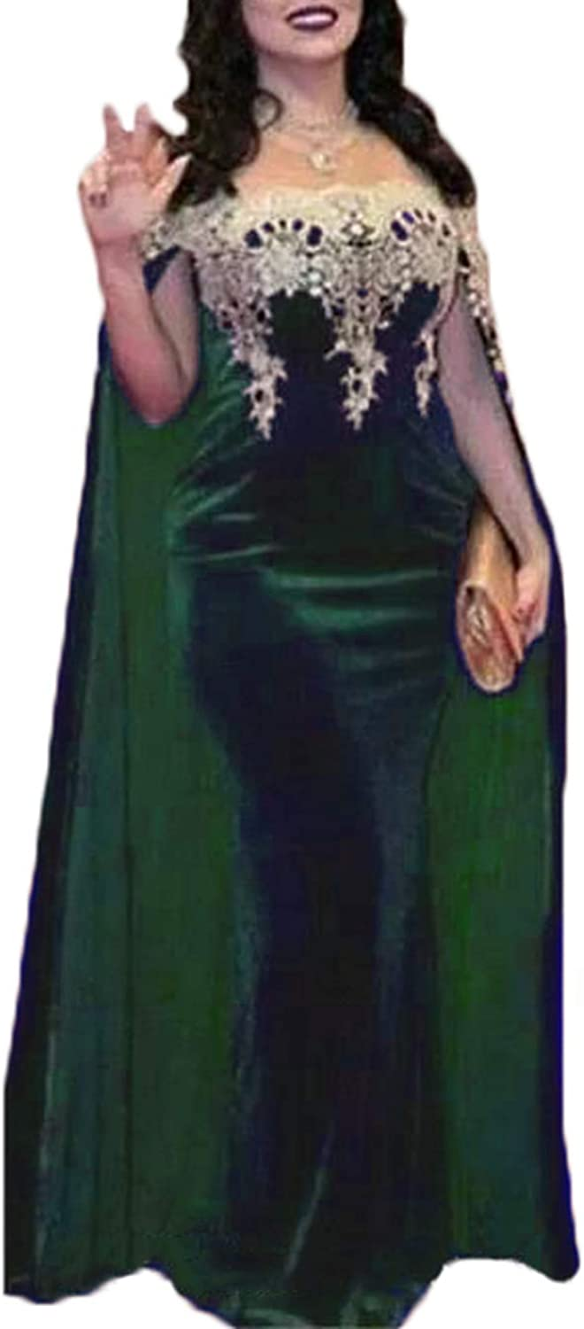 Alilith.Z Illusion Velvet Prom Dresses Appliques Mermaid Long Formal Evening Dresses Party Gowns for Women with Cape