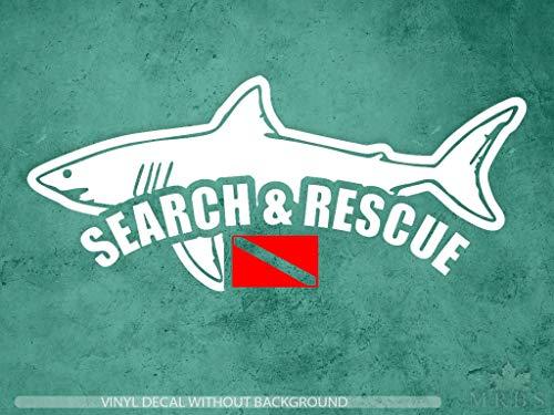 myrockshirt Pegatina de tiburón con bandera de Buceo Search & Rescue 2 colores, 20 cm, pegatina para coche, resistente a los rayos UV y al túnel de lavado, calidad profesional