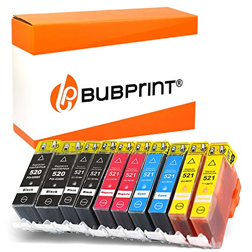 10 Bubprint Druckerpatronen kompatibel für Canon PGI-520 CLI-521 für Pixma IP3600 IP4600 IP4700 MP540 MP550 MP560 MP620 MP630 MP640 MP980 MX860 MX870