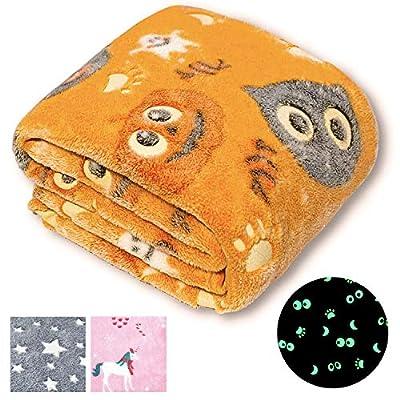"Forestar Glow in The Dark Blanket, Easter Gifts, Orange Throw Blanket for Boys Girls, Premium Super Soft Fuzzy Fluffy Plush Furry Fleece Throw Blanket (50"" x 60"")"