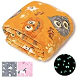 Forestar Glow in The Dark Blanket, Easter Gifts, Orange Throw Blanket for Boys Girls, Premium Super Soft Fuzzy...