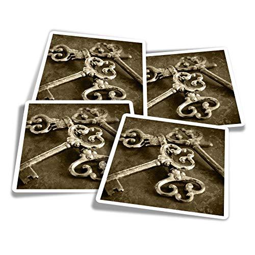 Pegatinas de vinilo (juego de 4) 10 cm – Vintage Keys Secret Lock House divertidos adhesivos para ordenadores portátiles, tabletas, equipaje, reserva de chatarra, frigoríficos #21548