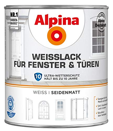 ALPINA Weißlack für Fenster und Türen 2 Liter Farbe Weiss Seidenmatt