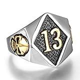 yabeme anello teschio numero fortunato 13, acciaio inossidabile 316l altorilievo colore dorato gioielli vintage punk rock dito, regalo amuleto motociclista,8