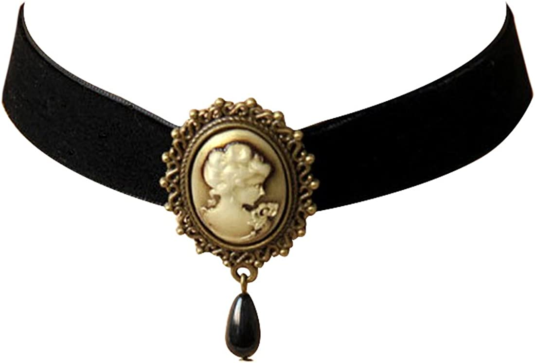 JJTZX Victorian Black Popular brand in the world Velvet Lace Gothic Choker Bombing free shipping Lady Cameo