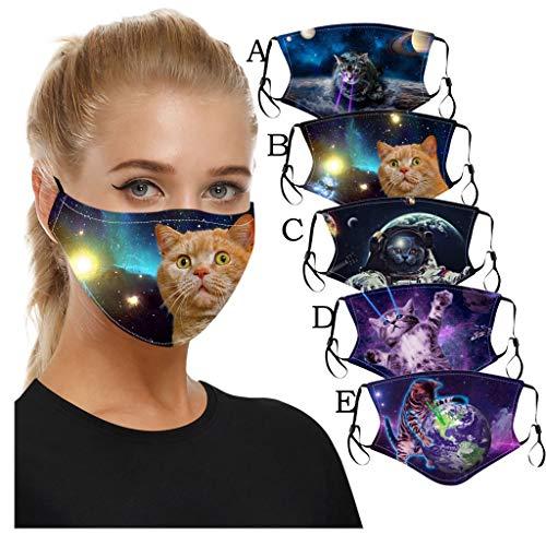 LiLiMeng 5PC Adult Fashion Cute Cat Pattern Print Face Bandanas Reusable Face Màsc Washable Face Msaks (A)