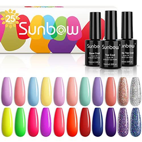 Sunbow - Juego de 25 esmaltes de uñas de gel para remojar el esmalte de uñas LED de Shellac, rosa, verde neón, azul, rojo, púrpura, con capa superior brillante y mate y capa base, jardín secreto