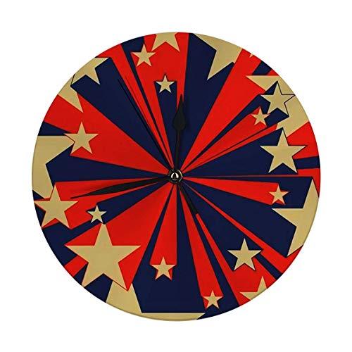 Meili Shop Wanduhr Große Vintage rote und Blaue Fliegende Sterne Comic-Buch Farbe Geschwindigkeit Radiale Linien Hero Action große runde Uhren