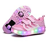 Qneic Roller Shoes USB Rechargeable LED Light Up Skate Sneaker Shoes for Boys Girls Kids Wheel Shoes