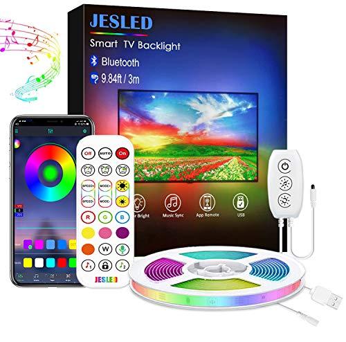 Tira LED TV 3M, JESLED Luces LED RGB Retroiluminación con Control App, Con 29 modos, 16 millones de colores de DIY, adecuado para TV y PC de 45-60 pulgadas