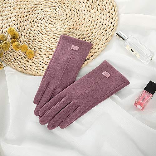 Guantes de trabajo de invierno, 2 piezas de guantes de ciclismo de otoño e invierno, pantalla táctil para montar a caballo a prueba de viento y terciopelo grueso (talla única, púrpura)