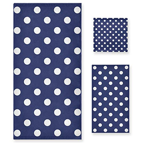 Juego de 3 Toallas de algodón de Lujo para baño para Mujeres, Hombres, baño, Cocina, 1 Toalla de baño, 1 Toalla de Mano, 1 toallitas con patrón de Azulejos, Lunares Blancos, Marinero, Azul Marino