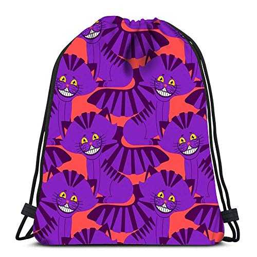 JDHFJ Bolsa con cordón Drawstring Backpack Sport Bags Cinch Tote Bags Cheshire Cat Smile Texture Fantastic Pet for Traveling and Storage