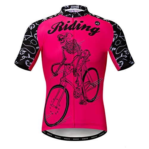 Maillots de ciclismo para hombre, de manga corta, transpirable, de secado rápido - rosa - M pecho 94/102 cm