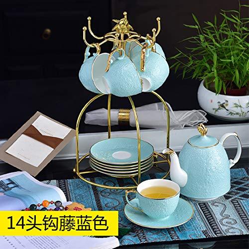 Set di tazze da tè Phnom Penh con piattino, set da tè pomeridiano, set da 14 pezzi in rilievo blu smaltato – vaso grande 1 tazza, 6 piatti, 6 gabbia per uccelli 1 – Ordine postale