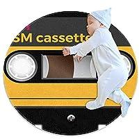 エリアラグ軽量 レトロカセットテープ音符 フロアマットソフトカーペット直径27.6インチホームリビングダイニングルームベッドルーム
