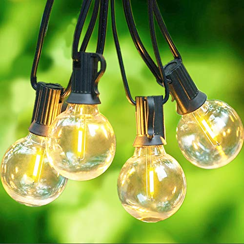 Svater G40 LED String Lights 36Ft 20Pcs LED Glass Globe Bulbs- Heavy Duty Festoon String Light,IP45 Outdoor String Lights Bulb 1W 2700K Warm for Home,Garden,Terrace,Party,Christmas,Wedding,WarmWhite