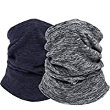 Thermal Neck Warmer/Neck Gaiter Face Scarf/Face Cover Winter Ski Mask - Cold Weather Balaclava (Grey+Dark Blue)