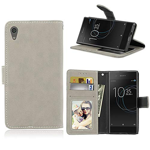Sangrl Lederhülle Schutzhülle Für Sony Xperia XA1 / Z6, PU-Leder Klassisches Design Wallet Handyhülle, Mit Halterungsfunktion Kartenfächer Flip Hülle Grau