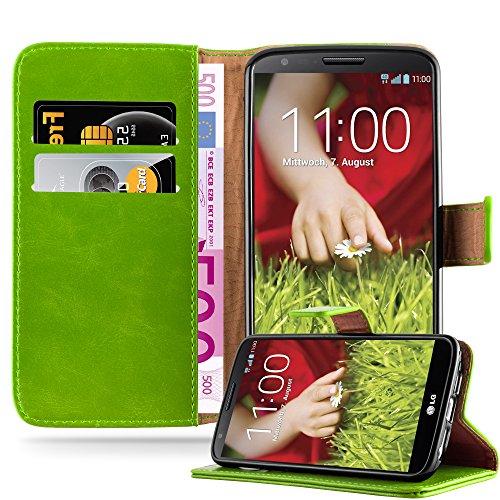 Cadorabo Hülle für LG G2 in Gras GRÜN – Handyhülle mit Magnetverschluss, Standfunktion & Kartenfach – Hülle Cover Schutzhülle Etui Tasche Book Klapp Style