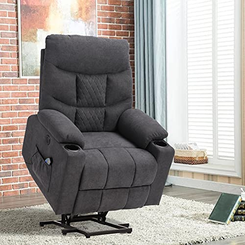 Power Lift Recliner Chair with Massage and Heat, Electric Recliners for Elderly, Fabric Heated Vibration Massage Sofa Living Room Chair with USB Ports, Remote Control, 3 Positions, 2 Pockets