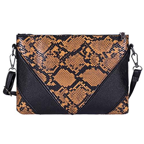 TTLOVE Mode Frauen Outdoor Reißverschluss Serpentine Messenger Bag Handytasche Shopper Leder Brieftasche Clutches Henkeltaschen Umhängetasche (Braun)