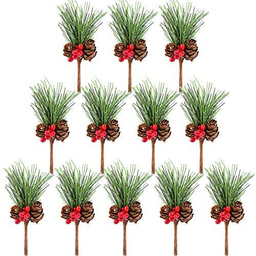 TUPARKA 12 STÜCKE Künstliche Kieferkegel Picks Dekor Holly Berry Stems Picks für Weihnachten Blumenschmuck Kränze Dekorationen und Holiday Crafts und Floral Projekte Dekorationen