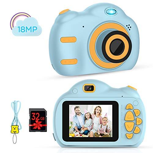 Kinderkamera - Digitalkamera für Kinder mit 2,5 Zoll Bildschirm 1080P HD 18MP Eingebaute 32 GB TF Karte USB Akku für Mädchen Jungen Geburtstagsgeschenke (Blau)