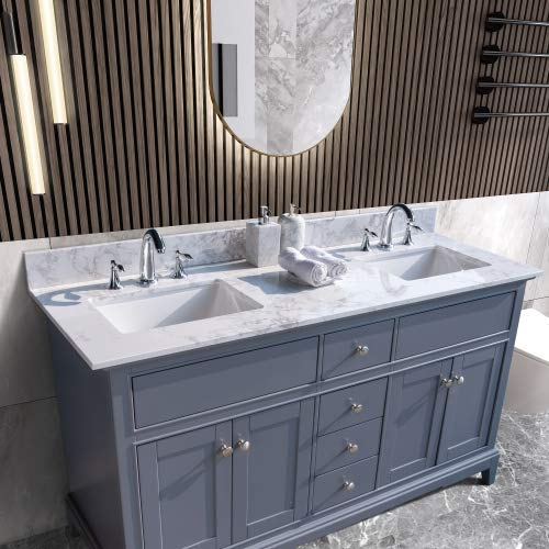 NOUVCOO Bathroom Vanity with Carrara White Marble Countertop Double Rectangle Undermount Ceramic Sink and Faucet Hole