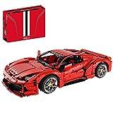 YIGE Coche deportivo para Ferrari 458, tecnología 1:8, mando a distancia, modelo Super Racing, con luces y motores, 3380 piezas, compatible con Lego.