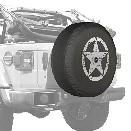 "Boomerang - 32"" Soft JL Tire Cover for Jeep Wrangler JL (with Back-up Camera) - Sport & Sahara (2018-2020) - Distressed Star - Silver Print - Made in The USA"