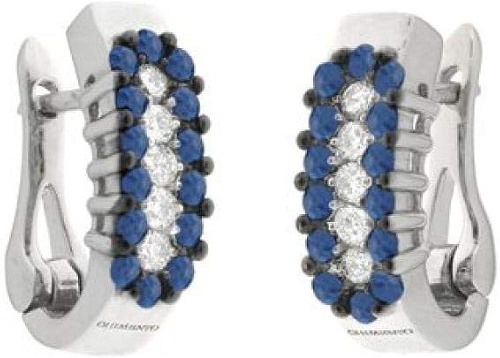 Chimento,orecchini per donna,in oro bianco 18 kt (5,1 gr)con zaffiri di 0,7 ct e diamanti 0,25 ct 1O06157HH500P