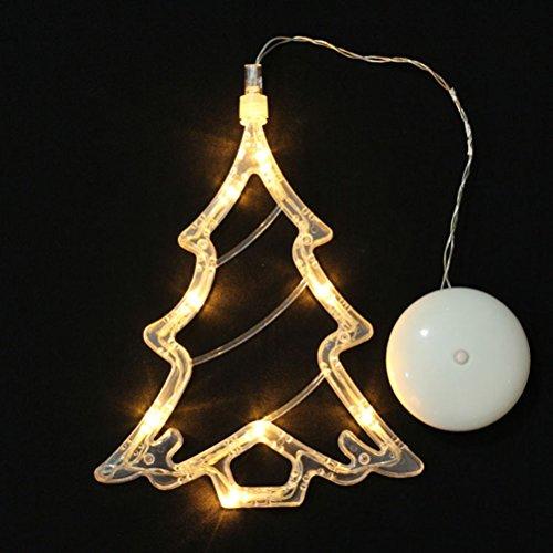 LEDMOMO Weihnachtsbeleuchtung - Weihnachtsbaum hängenden Fensterlicht mit Saugnapf und batteriebetrieben für Weihnachtsdekoration (warmes weißes Licht)