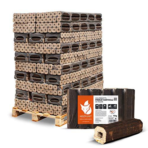 HEIZFUXX Holzbriketts Hartholz Pinikay Octagon Kamin Ofen Brenn Holz Heiz Brikett 10kg x 96 Gebinde 960kg / 1 Palette Paligo