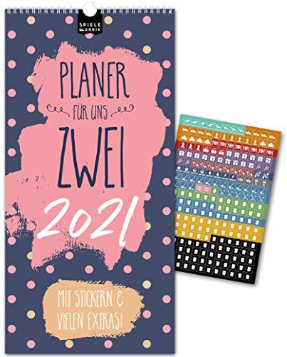 Paarplaner 2021– MUSTER | 3 Spalten | Wandkalender: 16x32,5cm | Partnerkalender in stilvollem Design | Extras: 228 Sticker, Ferien, Jahreskalender, Vorschau bis März 2022